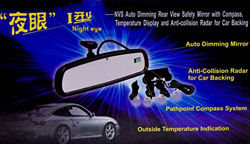 night eye auto dimming rear view safety mirror with digital compass and anti collision backup. Black Bedroom Furniture Sets. Home Design Ideas