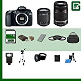 Canon EOS 60D Digital SLR Camera and Canon 55-250mm Lens and Canon 18-55mm Lens 16GB Green's Camera Package