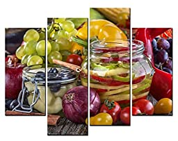 Canval prit painting Food Wall Art One Cans of Pickles and Many Kinds of Vegetable 4 Pieces Picture on Canvas
