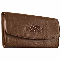 eZeeBags Womens Beautiful Ladies Leather Clutch Purse By006V1Brown
