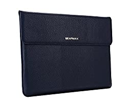 SunSmart Simple Envelope style 13.3 inch Laptop Leather Protective Sleeve case bag with Magnetic Closure for Macbook Air 13.3'' (Lichee Pattern-blue)
