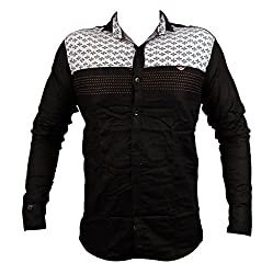 Zedx casual long sleeve printed single cuff BLACK apple cut shirt for Men's