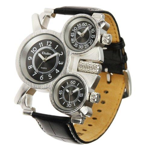 Muchbuy Oulm Luxury Sport Military Quartz Dial Clock Men Stainless Steel Wrist Watch