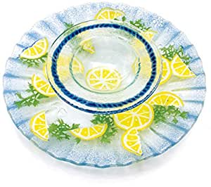 Amazon.com Fusion Art Glass - Shrimp and Butter Dish Ocean Serving ...