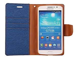 Relax And Shop Premium Look Wallet Style Flip Cover For Samsung Galaxy Grand 2 GT7106/ 7102- Navy Blue