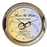 Goldene Hochzeit- Goldene Wanduhr 30cm – individuelle Motivuhr mit Ihrem Wunschtext