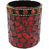 Elegant Mosaic Glass Tea Light Candle Holder Cup (Red) By MCL Trading Co.