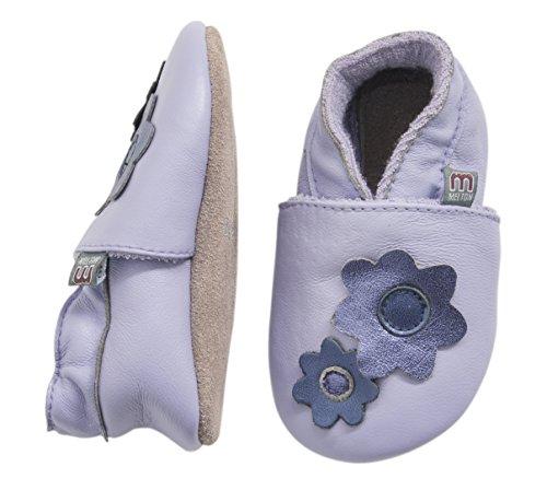 MOVE BY MELTON Leathershoe, Twin flower, Hausschuh Mädchen - Scarpine per neonati bambina, colore viola, taglia 36-48 mesi