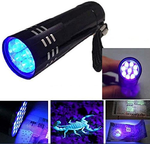 UV Ultra Violet 9 LED Flashlight Mini Blacklight Spy Detective tools Tactical Torch Light Lamp Studio Gallery Cleaner Light, Paper Bill Checker, Science Discovery Light EC-77
