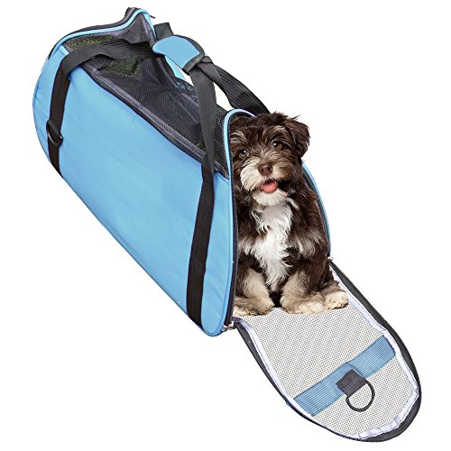 Rusee Soft-Sided Outdoor Pet Travel Carrier Mesh Side Ventilation Comfort Windows & Doors Ventilation, Airline Approved For In-Cabin Under Seat Storage Adjustable Shoulder Strap (Blue)