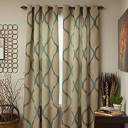 Lavish Home Metallic Grommet Curtain Panels, 84-Inch, Khaki