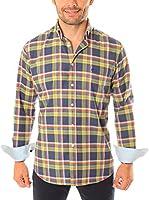 VICKERS Camisa Hombre Harvard (Azul Marino / Amarillo)