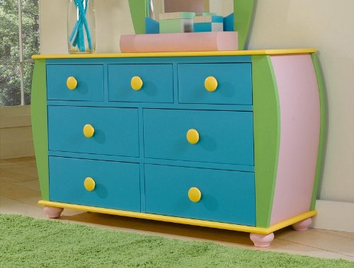 Cheap Kids Drawer Dresser with Bun Feet in Multicolored Finish (AZ00-46862×19801)