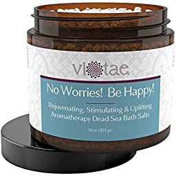 Rejuvenating, Stimulating & Uplifting Aromatherapy Dead Sea Bath Salts - Vi-Tae® \'No Worries! Be Happy!\', 16 Ounce