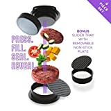 Burger Press with Recipe and Guide eBook, All in One - Stuffed Burger Press, Slider Press & Hamburger Patty Maker, BBQ Grilling & Gourmet Kitchen Tool - Patty Buddy by Master Yeti