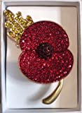 Crystal Buckley Remembrance 'Leaf Detail' Poppy Brooch (Large 42x62mm)