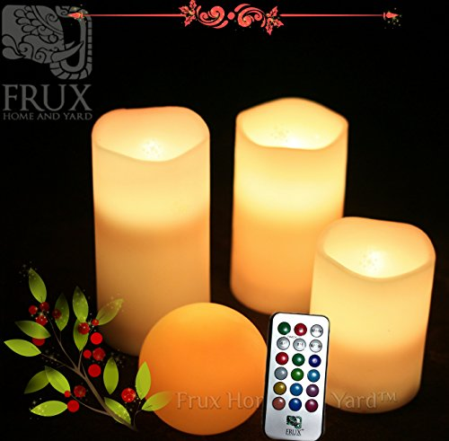 3 Piece Flickering Flameless LED Wax Pillar Candles Set with Remote Control and BONUS LED Ball Candle by Frux Home and Yard picture