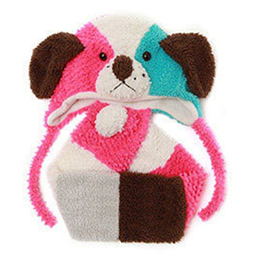 Deer Mum Unisex Baby Winter Cartoon Wool Warm Cap And Scarf Set In Pubby Pattern (Rose) front-661575