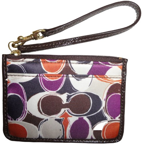 Coach   Women's Coach Signature Ashley Scarf Print Skinny Wristlet ID Holder Multicolor