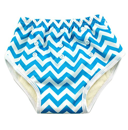 Waterproof Baby Training Pants - All-In-One Fit - 8- 18 Mo - Blue Chevron