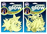 The Original Glowstars Company Cosmic Glow Moon, Stars and Dinosaurs (Pack of 2)