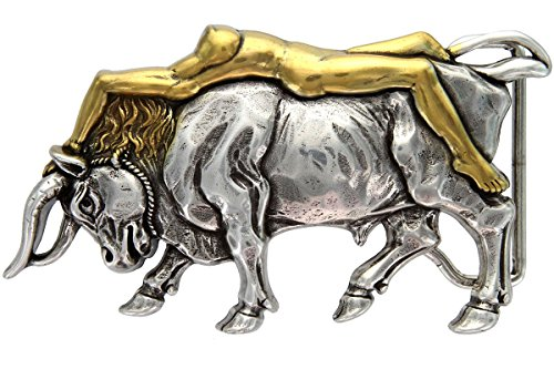 Italian Artisan: Antique Silver/Gold Lady Bull Belt Buckle