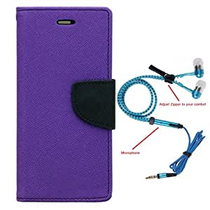 Aart Fancy Diary Card Wallet Flip Case Back Cover For Sony Expria E3-(Purple) + Zipper earphones/Hands free With Mic *Stylish Design* for all Mobiles By Aart store