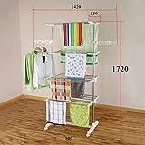 Luxus 4 Ebene Mobiler Wäscheständer klappbar Wäschetrockner-Turm