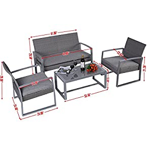 4PC Patio Furniture Set Cushioned Outdoor Wicker Rattan Garden Lawn Sofa Seat from Safe Price