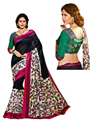 Brijraj Black Multi Bhagalpuri Silk Beautifull Printed Saree Wih Unstitch Blouse