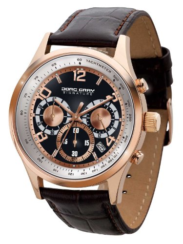 Jorg Gray Signature Collection Men's Quartz Watch with Black Dial Chronograph Display and Brown Leather Strap JGS3550