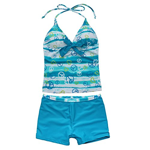 Big Girls Youth Peace Signs Heart Print 2 Piece Tankini Swimwear
