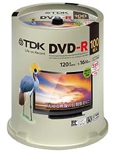 TDK 録画用DVD-R デジタル放送録画対応(CPRM) 1-16倍速 インクジェットプリンタ対応(ホワイト・ワイド) 100枚スピンドル DR120DPWC100PUE