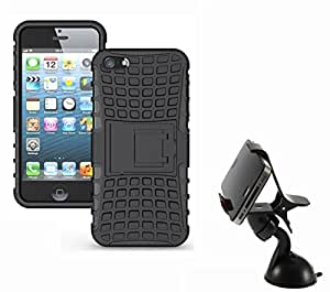 Aart Hard Dual Tough Military Grade Defender Series Bumper back case with Flip Kick Stand for Iphone 5G + Car Mobile Holder Mount Bracket Holder Stand 360 Degree Rotating by Aart store.