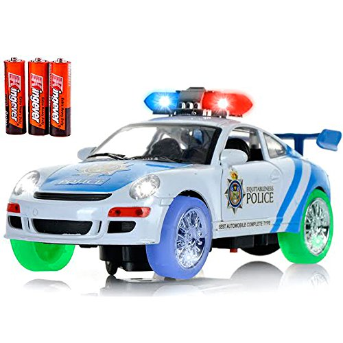 Classic glow Police Car Toy with 3D Technology Flashing Lights and Sounds Bump And Go Action Car Toys for Kids Boys and Girls (Ford Lightning Rc Car compare prices)
