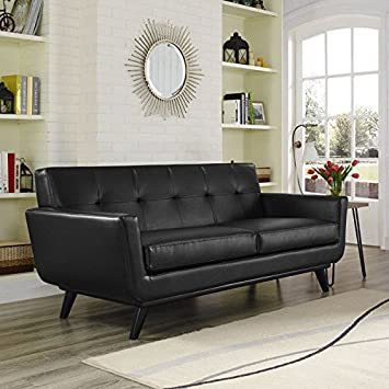 Modway EEI-1337-BLK Engage Bonded Leather Loveseat in Black