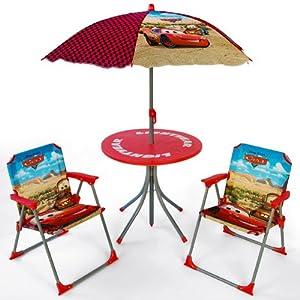 chaises et table d 39 enfant avec parasol motif disney cars cuisine maison. Black Bedroom Furniture Sets. Home Design Ideas