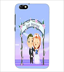 PrintDhaba Just Married D-5390 Back Case Cover for HUAWEI HONOR 4X (Multi-Coloured)