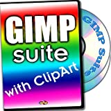 GIMP suite with full-size images ClipArt and printed Quick Reference Card for Windows and Mac OS X, 2-DVDs set
