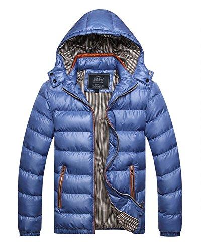 LaoZan Uomo Giacca con cappuccio Cappotto invernale outwear Maniche Lunghe 3XL Blu
