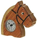 Horse Clock : Handcrafted Wooden Gift Idea : On/off alarm switch on reverse : Top Hand Painted Gifts for Boys, Girls, Kids, Children & Fun Loving Adults! : 1 Train, 1 Bird & 7 Animal Designs Available : Height approx 12cm
