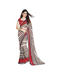 Fancy Classy Grey Colored Printed Faux Georgette Saree By Triveni