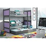 Etagenbett RICO 3 160/80 Farbe Graphite + Matratzen + Lattenrost inkl. Massivholz Kiefernholz