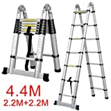 Popamazing Multi-Purpose Folding Telescopic Aluminium Ladders (Multi-Purpose A Frame Shape, 4.4 M)