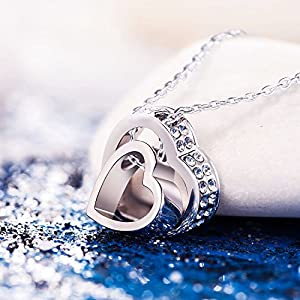 "BEST GIFTS ""LOVE YOU FOREVER"" Engraved White Gold Plated Crystal Necklace. This simple yet romantic design is perfect for any outfit - and it makes a great gift too! Arrive in White Gift Box"