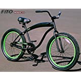 "Fito Modena NF 3.0 1-speed Men - Matte Black/Neon Green, 3.0"" Wide Fat Tire Beach Cruiser Bike Bicycle, 26"" tire, 24"" wheel, Limted QTY Offer!"