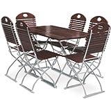 Biergartengarnitur 1x Tisch 120x70 cm & 6x Stuhl EuroLiving Edition-Exklusiv kastanie/verzinkt