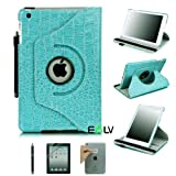 E-LV 360 Degrees Rotating Stand Leather Smart Case for Apple iPad Mini/iPad Nano Luxury Crocodile Pattern - Free Screen Protector and Cleaning Cloth (Retail Packaging) (Blue, iPad mini)