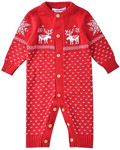 ZOEREA maglione bambino unisex bambino appena nato pagliaccetto manica lunga Natale maglioni cervo cotone pullover lavorato a maglia