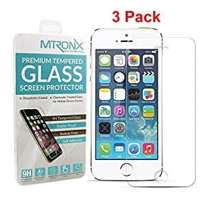 iPhone SE/5/5s/5c Screen Protector[3 Pack], MTRONX [0.2mm+2.5D+9H] HD Ultra Thin Clear Ballistic Tempered Glass Screen Protector for Apple iPhone SE, iPhone 5, iPhone 5s, iPhone 5c [3 Pack](GSP02)